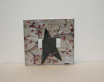 Black Star Hope Berries Vine Double Switch plate Double Toggle Cover Primitive Country
