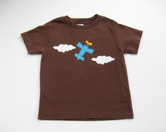 Airplane Shirt,  Pilot Theme Birthday Party, Hand Painted Cotton Tee or Top For Baby and Toddler