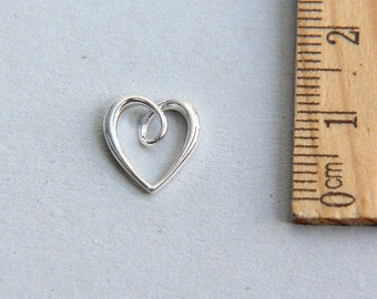 Sterling Silver Heart Charm, 925 Sterling Silver Charm, Heart Charm, Cut Out Heart Charm, Open Heart Charm, 12mm ( 1 piece )