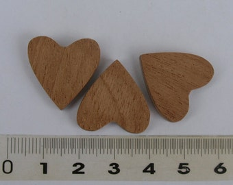 3pc  unfinished  wooden heart mahogany