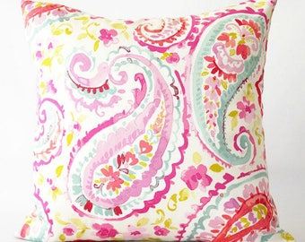 20x20 Paisley and Floral Print Pillow Cover, pink paisley pillow cover, floral pillow, pink paisley, decorative pillow cover, spring pillow