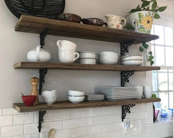 2 TWO 47 inch farmhouse barn wood shelves reclaimed industrial kitchen open shelves display art rustic fixer upper BeachHouseDreamsHomeOBX