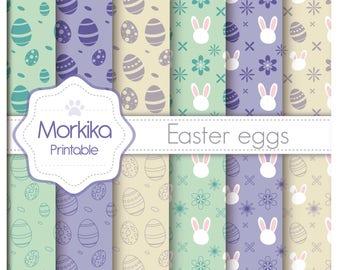 Digital Paper Easter Eggs