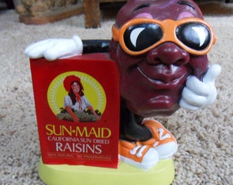 1987 Sun-Maid California Sun-Dried Raisins Figural Advertising Bank California Raisins
