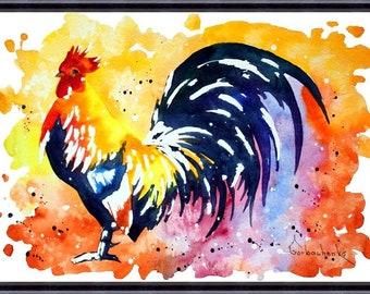 Rooster Art Chicken_Original Watercolor Painting, Art print from original watercolor painting