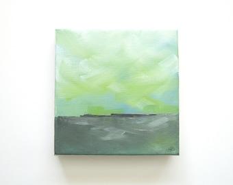 Okra - Original Oil Painting Landscape Painting Abstract Landscape Painting - 6x6 - Weather Cloud Painting Coastal Seascape - Green Gray