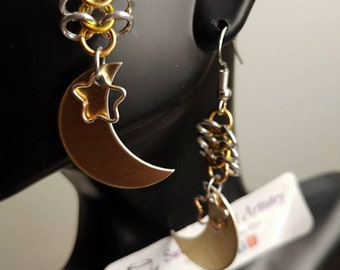 Ero 4in1 Gold Moon and Star Earrings