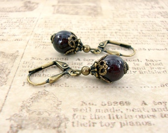 Antique Style Garnet Earrings - Natural Garnet Jewelry - Burgundy Vintage Style Victorian Style Garnet Gemstone Antique Brass Earrings