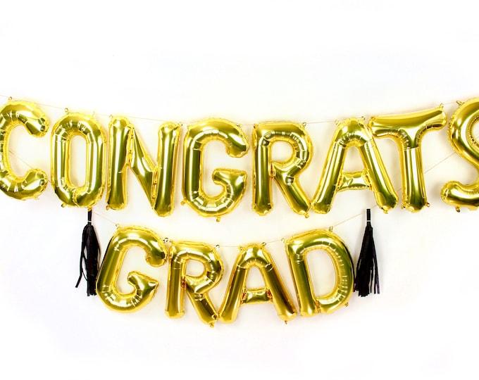 "Featured listing image: 16"" Gold CONGRATS GRAD Balloon, Graduation Letter Balloon, Gold Balloon Banner, Graduation Photo Prop, Wedding Photo Prop, Gold Grad Balloon"