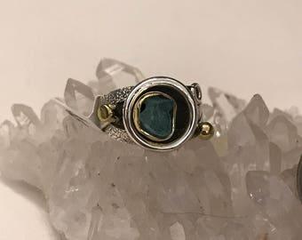 Solar Eclipse Neon Blue Apatite Ring Size 5 1/2