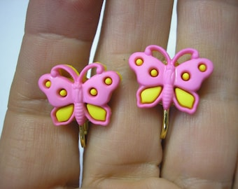 """Play Earring - Clip - Butterfly - Pink/Yellow - 3/4"""""""