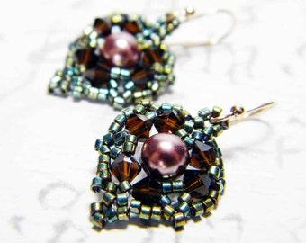 "Bronze Glass Pearl Earrings Swarovski Crystal Rose Gold Filled Earwires Delica Beads - ""Last Leaf"""