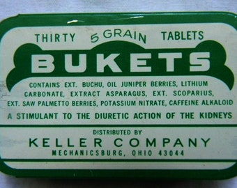 Vintage Bukets Tablets Tin -  Vintage Medicine Tin - Pharmaceutical Tin - Drug Store Tin