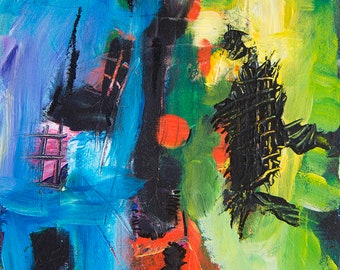 Life As It Is Original acrylic painting Abstract painting Blue Green Black small abstract art Modern abstract art Colors Kandinsky inspired