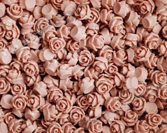 7.5mm - Dusty Mauve Rose Teeny Tiny Rose Resin Cabochons, Tiny Flower Cabochons, Tiny Flatback Roses, 7.5mm  (R3-053)