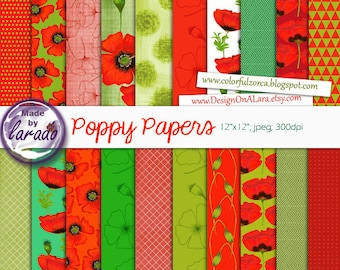 Poppies Digital Papers, Poppies Patterns, Poppy Scrapbooking Papers, handpainted poppies papers, Digital Floral Poppy Papers,  Red Poppies
