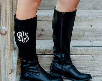 SALE!! Black Size 6 ONLY Brooklyn Boots, FREE Personalization, Monogrammed Boots, Embroidered Boots, Personalized Boots