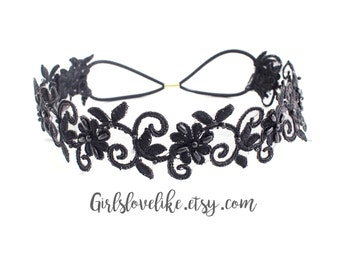 Black Beaded Lace Elastic Headband, Bridal Elastic Headband, Bridesmaid Headband, Elastic boho headband, Elastic Headband