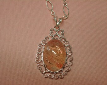 Sunstone Necklace - Sterling Silver and Sunstone Necklace - Long Necklace