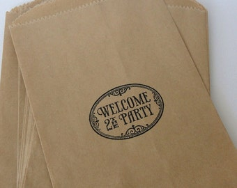 Welcome to the party gift bags - Candy Buffet - Wedding - Birthday - Retirement - Gift wrap - Set of 10 - Hand Stamped - for her or him