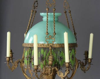 French Oil Lamp Chandelier