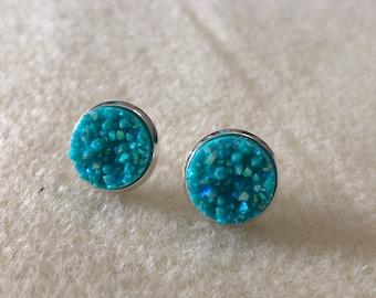 12mm blue  druzy earrings in silver settings