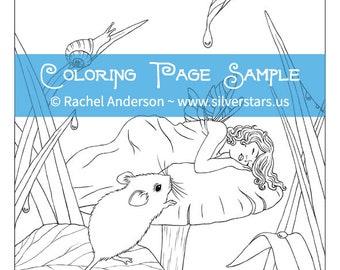 Sweet Dreams Sleeping Fairy Child Coloring Page Digi Stamp Printable Digital Download
