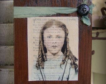 Antique Photograph Art Block Altered Childhood Photograph Antique Reclaimed Barn Wood Assemblage Barnwood Art Altered Vintage Photo Collage