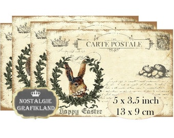 Postcards Vintage Easter Lapin Hare Rabbit Bunny Instant Download digital collage sheet P104