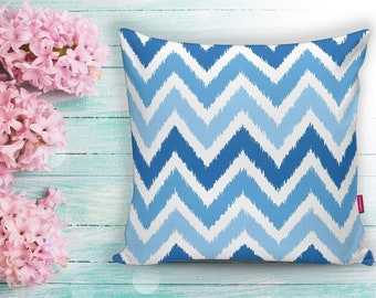 Sea Waves Zig Zag Blue Lines Decorative Pillow  Case