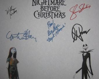 The Nightmare Before Christmas Signed Fim Movie Screenplay Script X9 Autographs Danny Elfman Tim Burton William Hickey Catherine O'Hara