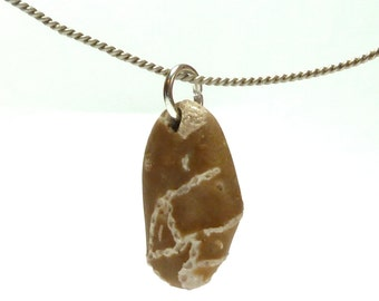 Chain Coral Beach Stone Fossil Pendant AHOY Jewelry Bead Drilled Pebble Ancient River Rock Rare Natural Fossil Charm Tribal Influence