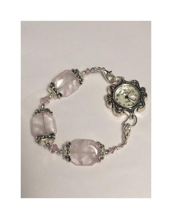 Light Pink Swarovski Crystal Geneva Watch