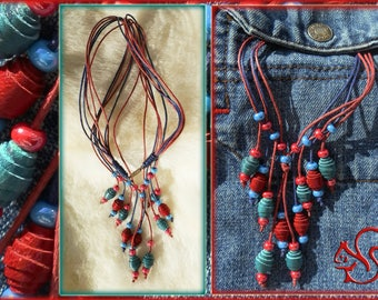 long leather necklace cord necklace pendant red blue multi layer necklace universal ethnic necklace exclusive special occasion necklaces
