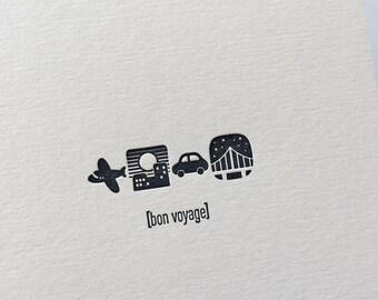 Emojicards: Bon Voyage, single letterpress card