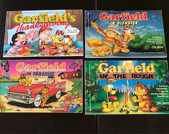 4 Vintage Softcover Editions of Garfield Comic Book Collections By Jim Davis Based on TV Specials  - 1980s