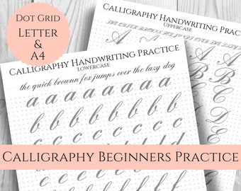 Calligraphy Handwriting Practice Sheets, Easy large print, Dot Grid for Bullet Journal, Uppercase, Lowercase, Printable