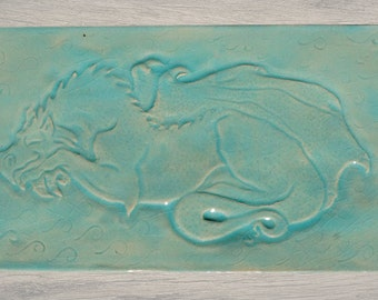 Sleeping Dragon Tray with Celadon Glaze for Cheese, Sushi, Desserts, etc.