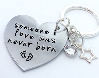 Infant loss miscarriage keepsake keyring someone i loved was never born memorial Gift - rememberance - mom / mummy to an angel- angel Baby