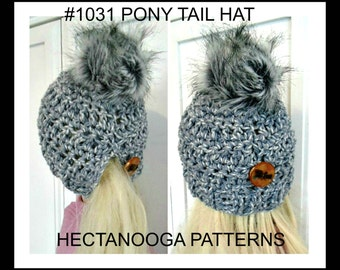 CROCHET HAT PATTERN, Pony Tail Hat, how to make pom poms, #1131,