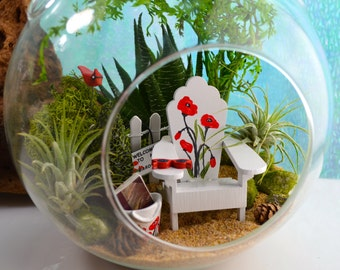 """Garden Terrarium Kit ~ 7"""" Air Plant Terrarium Kit ~ Hand-painted Chair with Poppies ~ Purse with Poppies ~ Redbird ~ Book ~ Gift for her"""