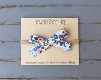 Floral baby bow, baby girl headband, hand tied bow, baby headband, school girl bow, nylon headband, baby hair bow, newborn headband