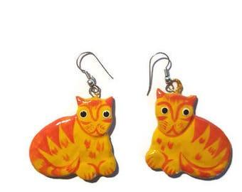 Wood Cat Earrings