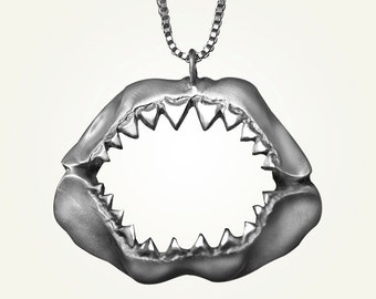 Shark Jaw Necklace, Sterling Silver, Handcrafted, Shark Week, Jaws, Skull, Great White, Unisex, Longer Chain.
