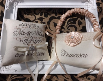 Flower Girl Basket with Ring Bearer Pillow, flower basket, ring basket, wedding basket, wedding pillow, embroidery, custom, personalized