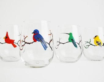 Glassware, Four Seasons Birds Stemless Painted Wine Glasses - Red Cardinal, Green Hummingbird, Bluebird, Golden Finch - Set of 4 Glasses