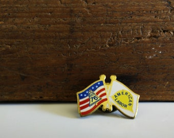 Vintage 76 American Labor Flag Lapel Pin
