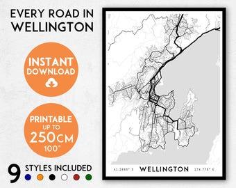 Wellington map print, Printable Wellington map art, Wellington print, New Zealand map, NZ print, NZ map, Wellington art, Wellington poster