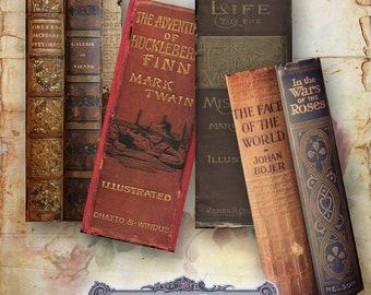 10 Vintage Book Spine Bookmarks Set 2