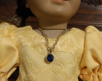 "18"" Doll Necklace Blue and Gold_Pendant and Chain"